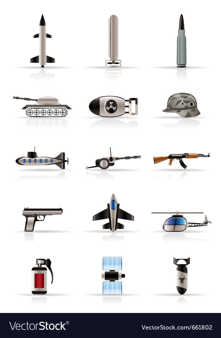 Realistic weapon and war icons vector | Price: 1 Credit (USD $1)