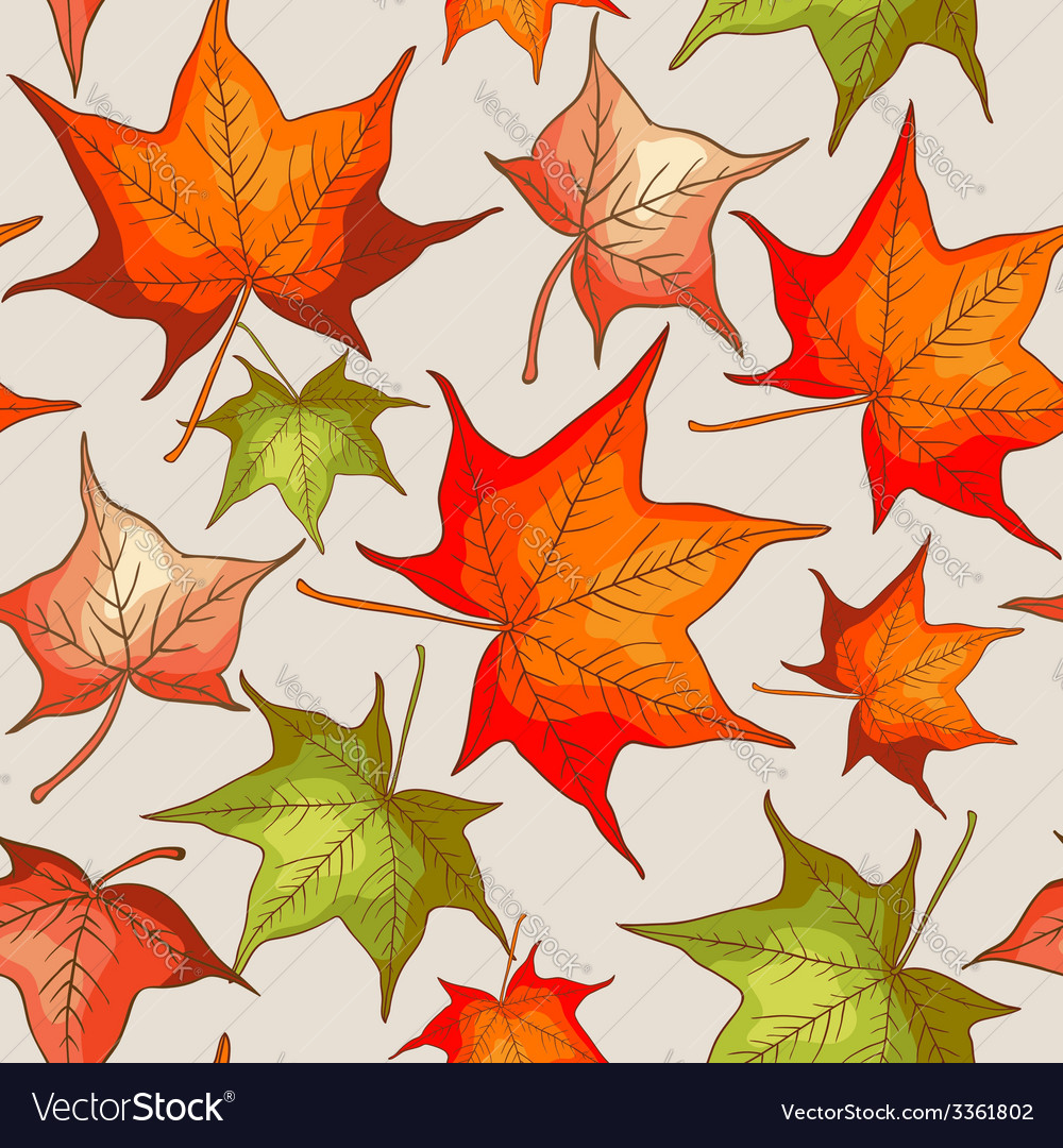 Seamless pattern with red and orange autumn leaves vector | Price: 1 Credit (USD $1)