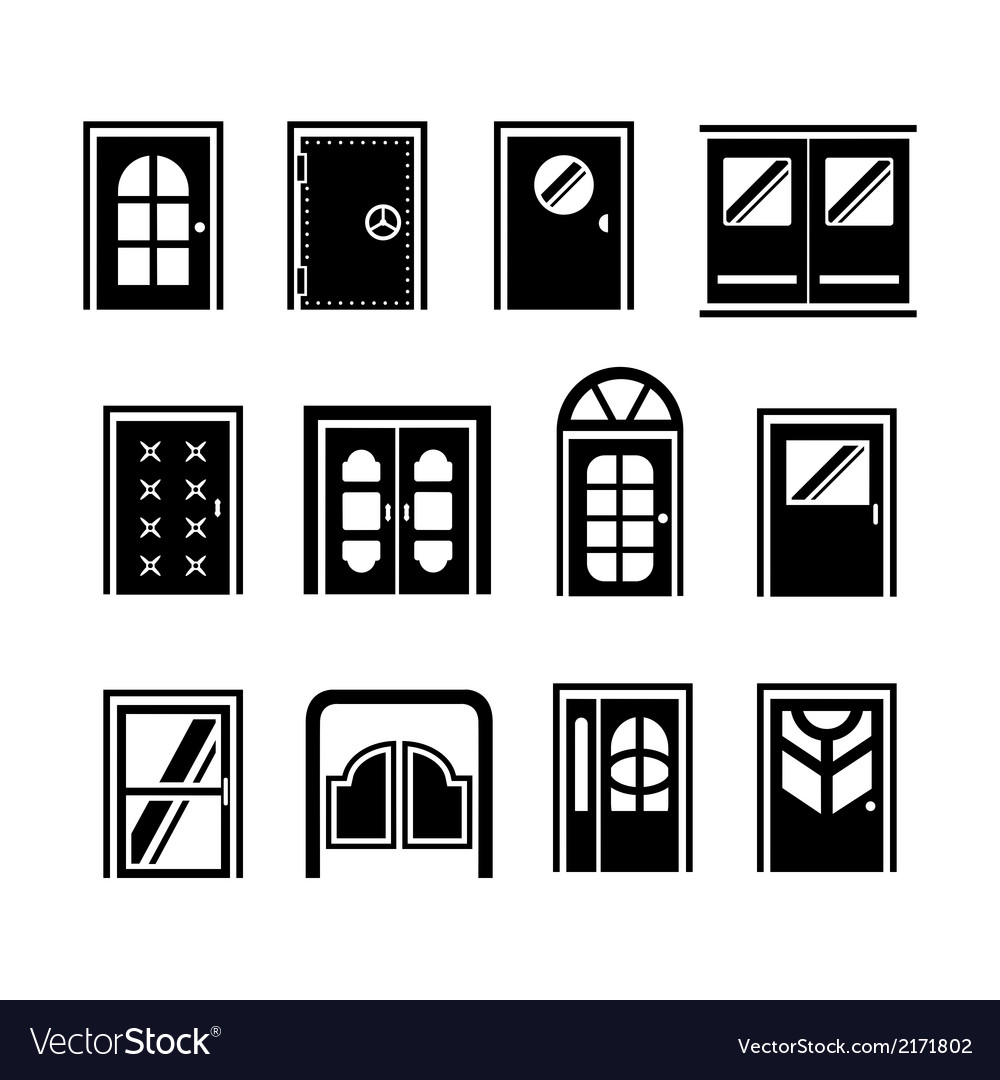 Set icons of doors vector | Price: 1 Credit (USD $1)