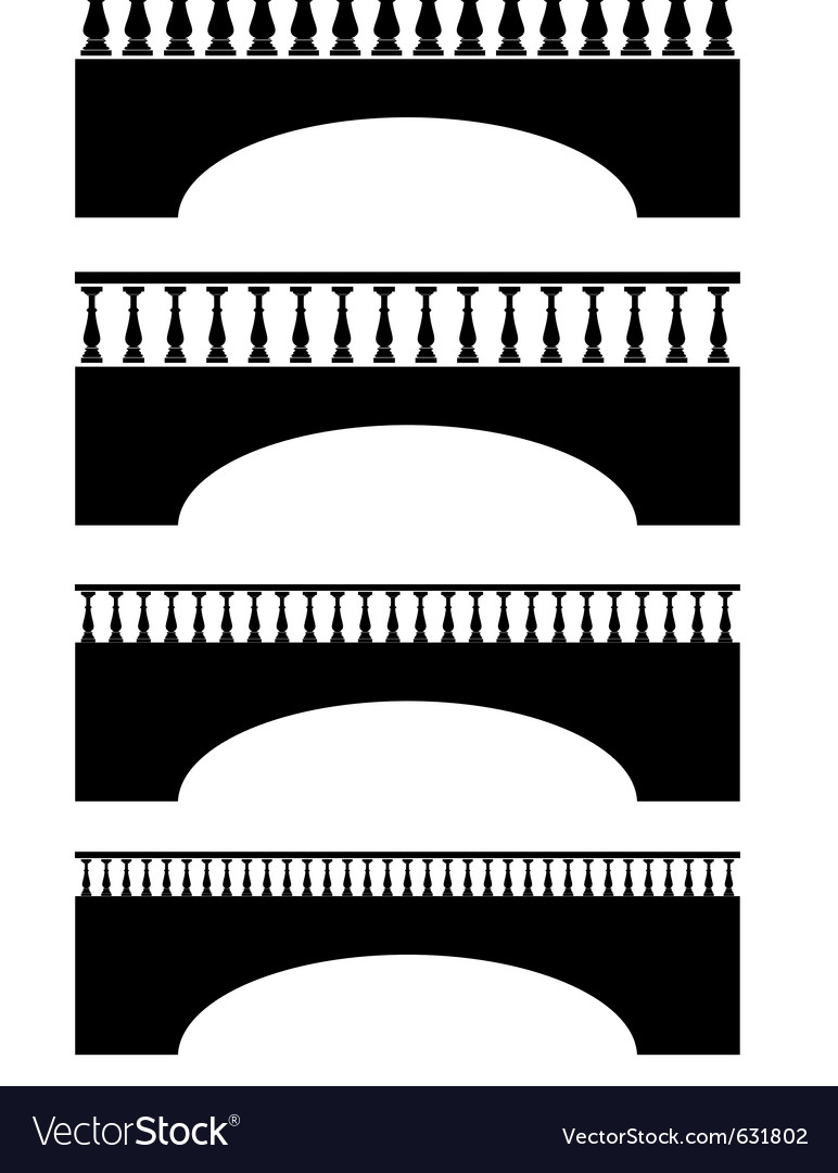 Set of ancient stone bridge black silhouettes vector | Price: 1 Credit (USD $1)
