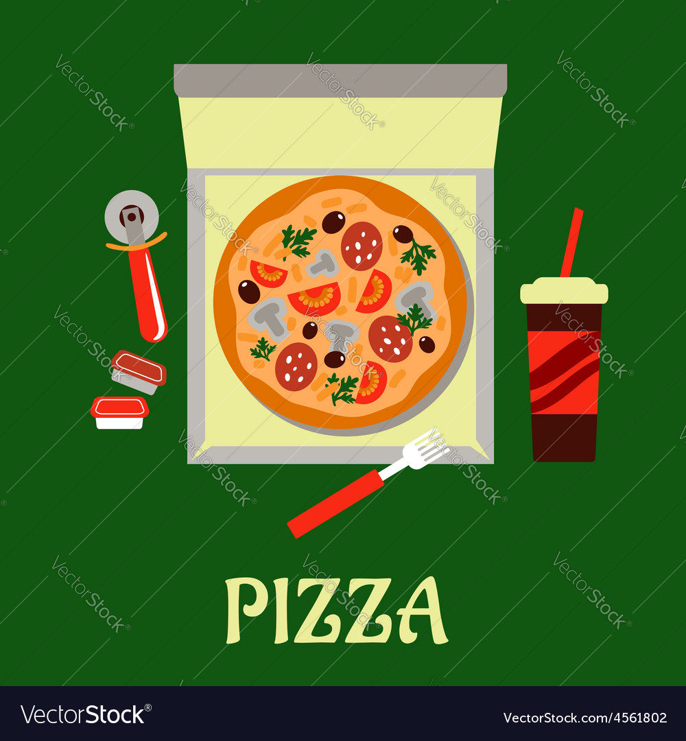 Takeaway pizza and soda drink vector | Price: 1 Credit (USD $1)