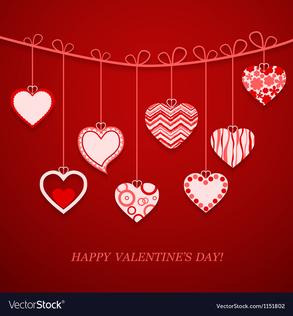 Valentine day hanging heart vector | Price: 1 Credit (USD $1)