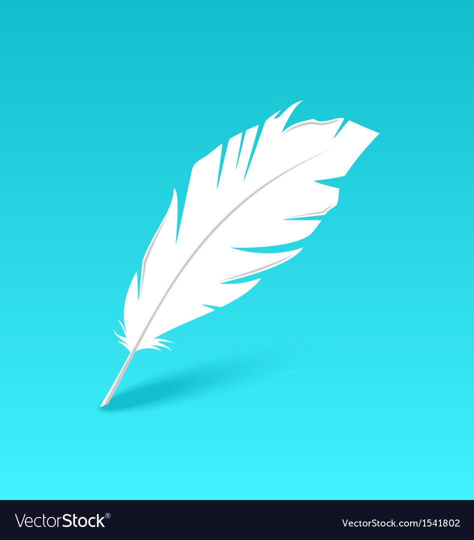 White feather isolated on blue background vector | Price: 1 Credit (USD $1)