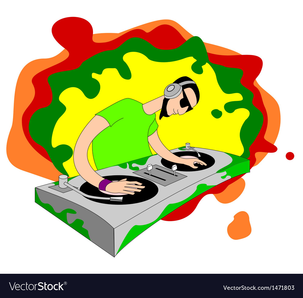 Cartoon acid dj on set vector | Price: 1 Credit (USD $1)