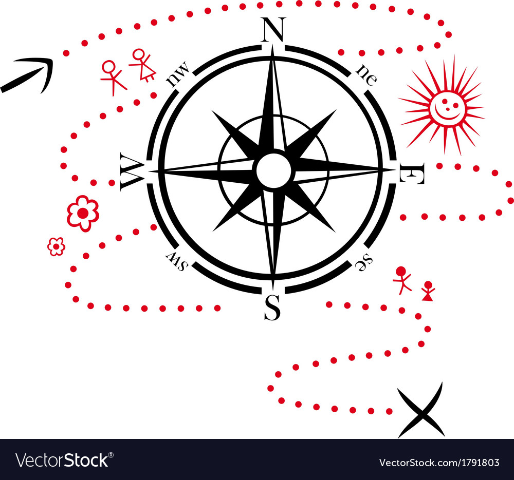 Compass hiking map vector | Price: 1 Credit (USD $1)