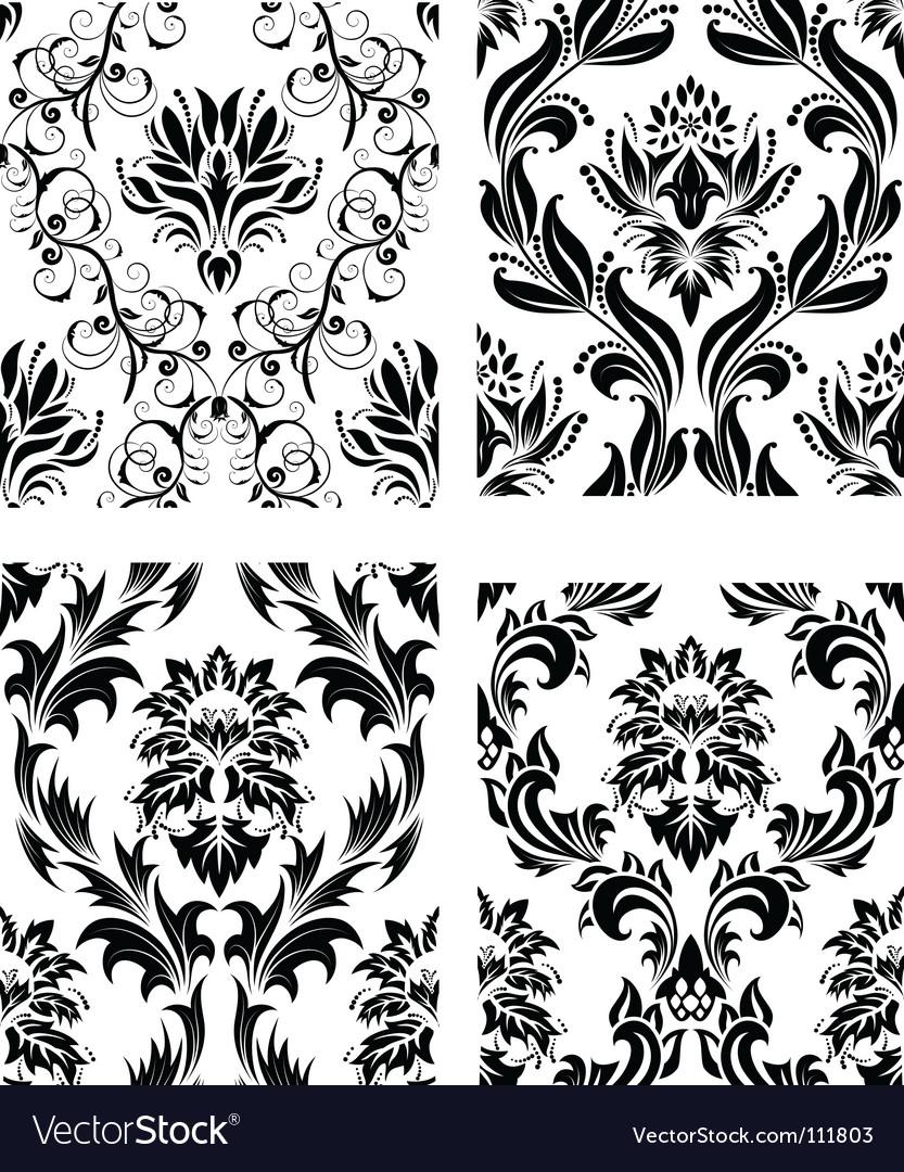 Damask patterns set vector | Price: 1 Credit (USD $1)