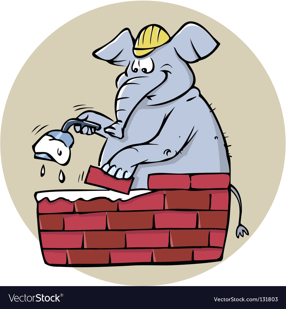 Elephant bricklayer vector | Price: 1 Credit (USD $1)