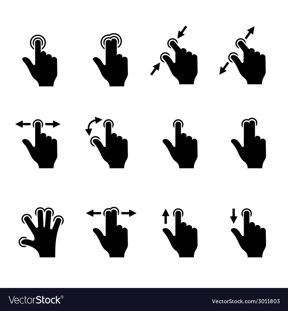 Gesture icons set for mobile touch devices vector | Price: 1 Credit (USD $1)