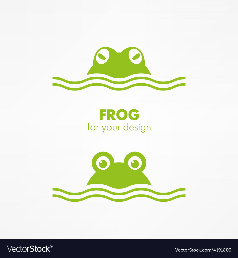 Green frog head vector