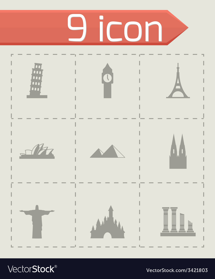 Landmarks icon set vector | Price: 1 Credit (USD $1)