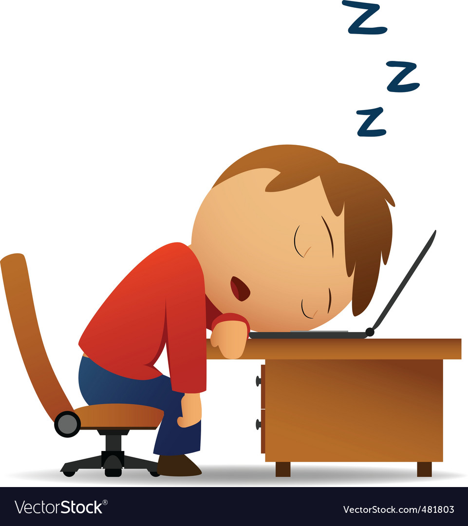 Man sleeping at work vector | Price: 1 Credit (USD $1)