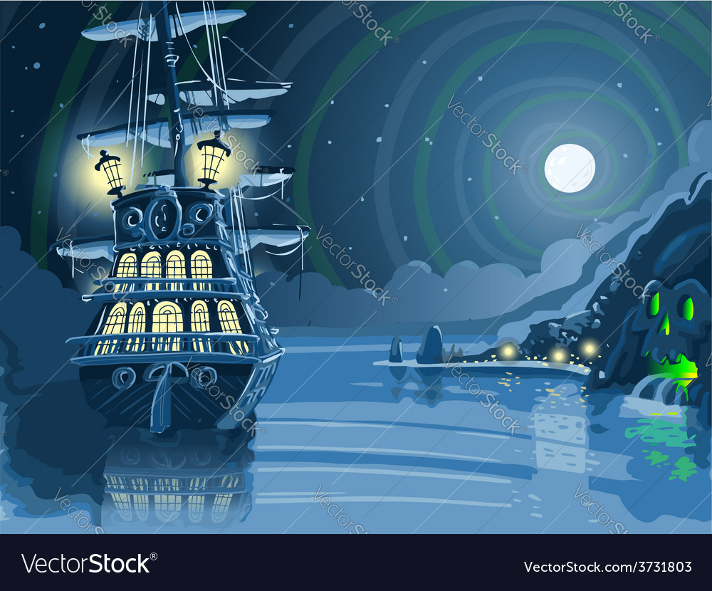 Nocturnal adventure island with pirate galleon vector | Price: 3 Credit (USD $3)