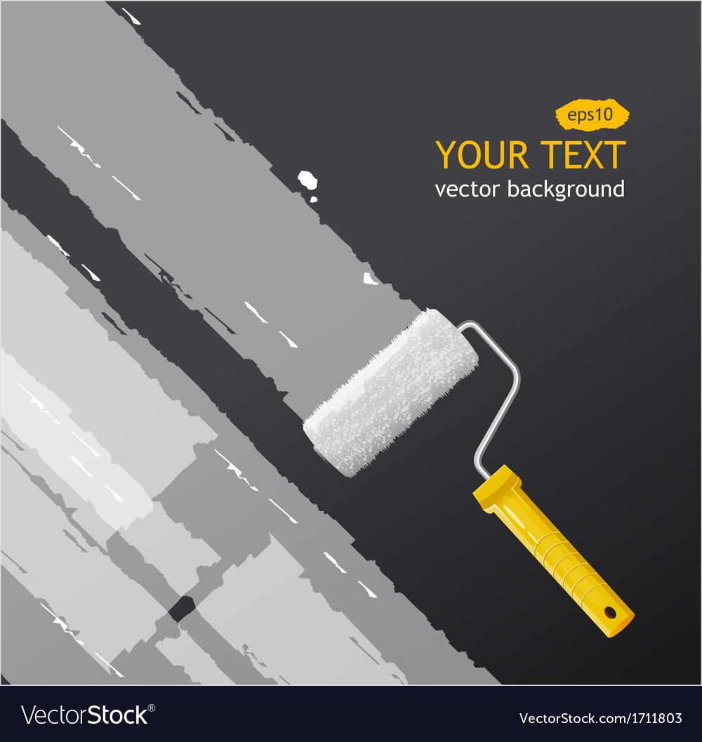 Roller brush with white paint vector | Price: 1 Credit (USD $1)