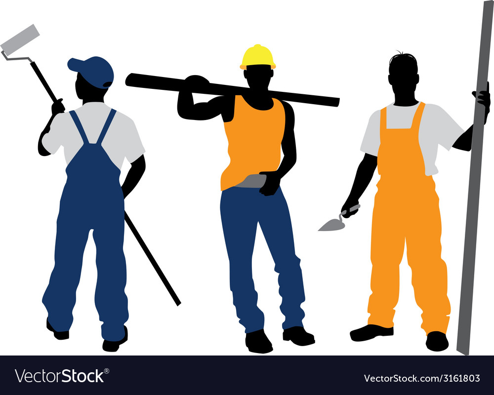 Three workers silhouettes vector | Price: 1 Credit (USD $1)