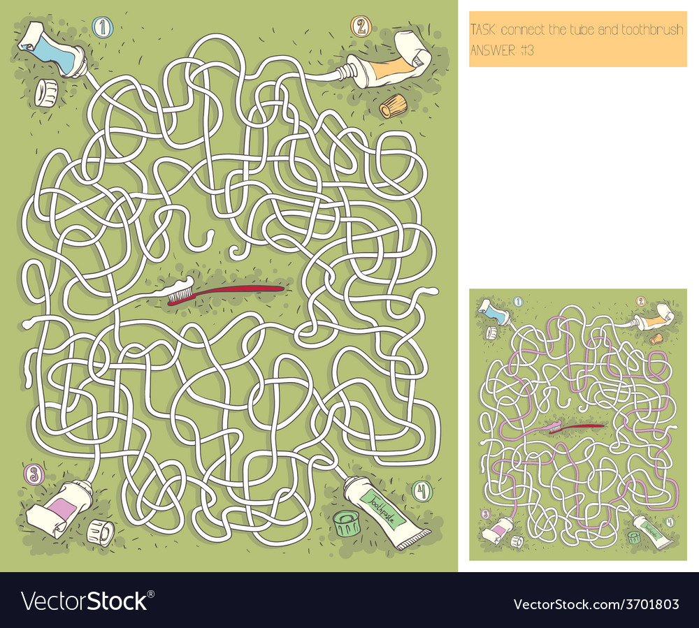 Toothpaste maze game vector | Price: 1 Credit (USD $1)