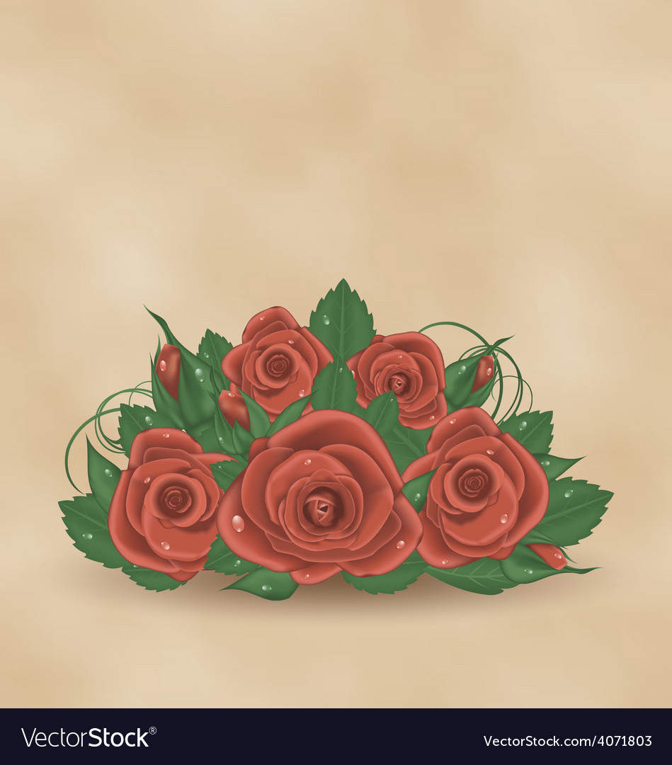 Vintage cute card with bouquet roses vector | Price: 1 Credit (USD $1)