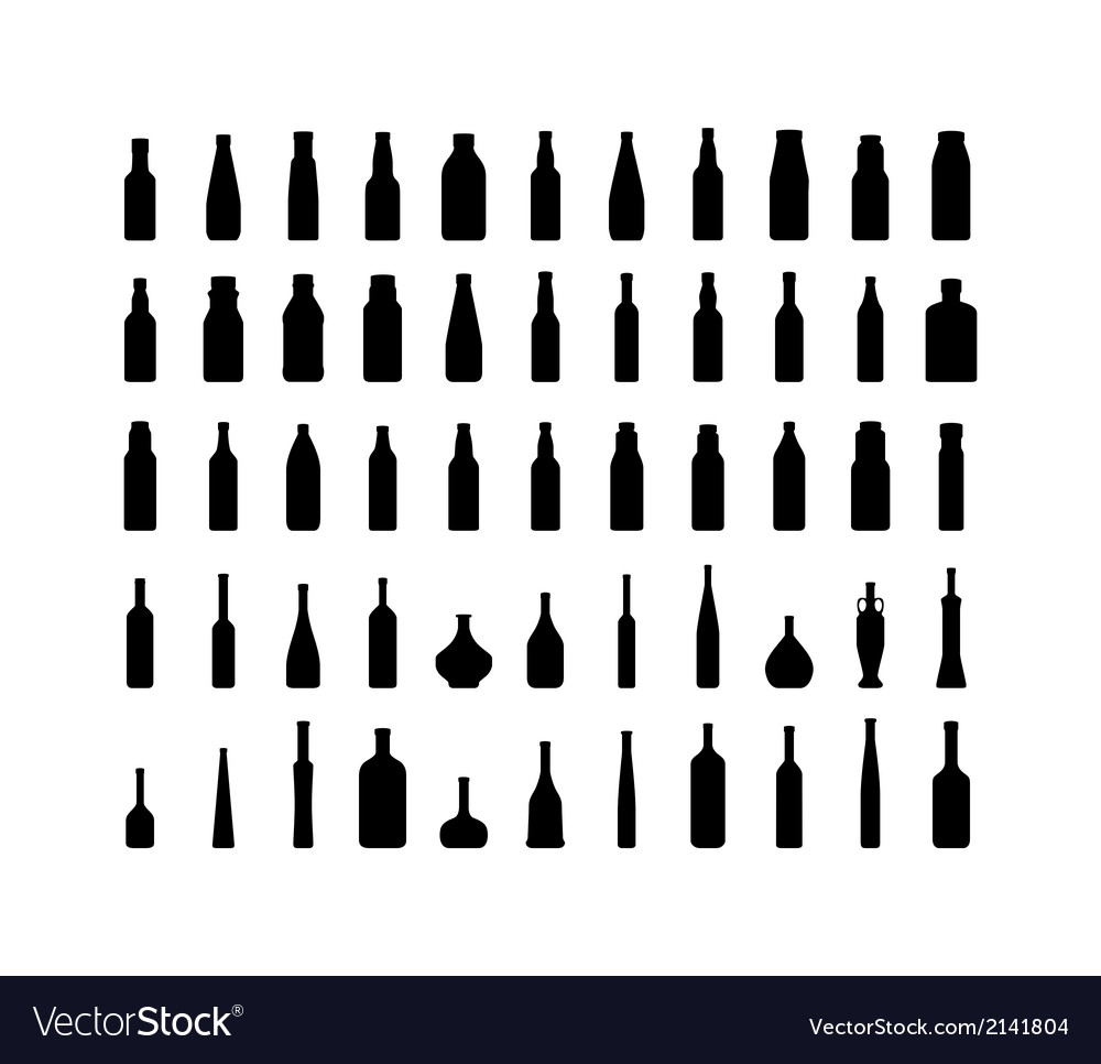 Bottle collection silhouette vector | Price: 1 Credit (USD $1)