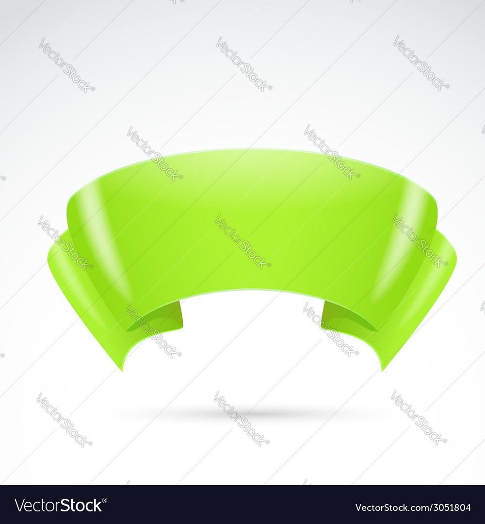 Bright green ribbon badge sign banner vector | Price: 1 Credit (USD $1)