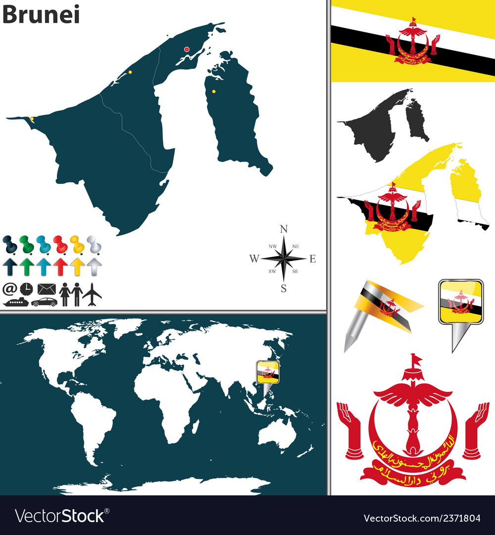 Brunei map vector | Price: 1 Credit (USD $1)