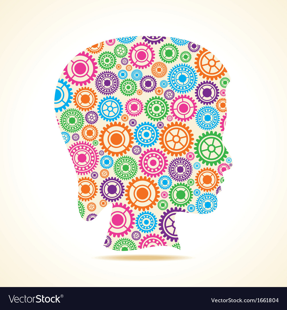 Group of colorful gears make a female face vector | Price: 1 Credit (USD $1)