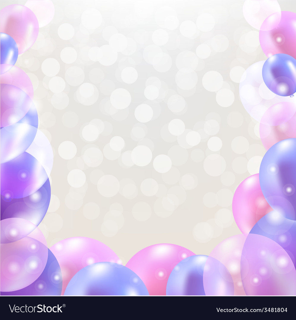 Happy birthday card with pastel balloons vector | Price: 1 Credit (USD $1)