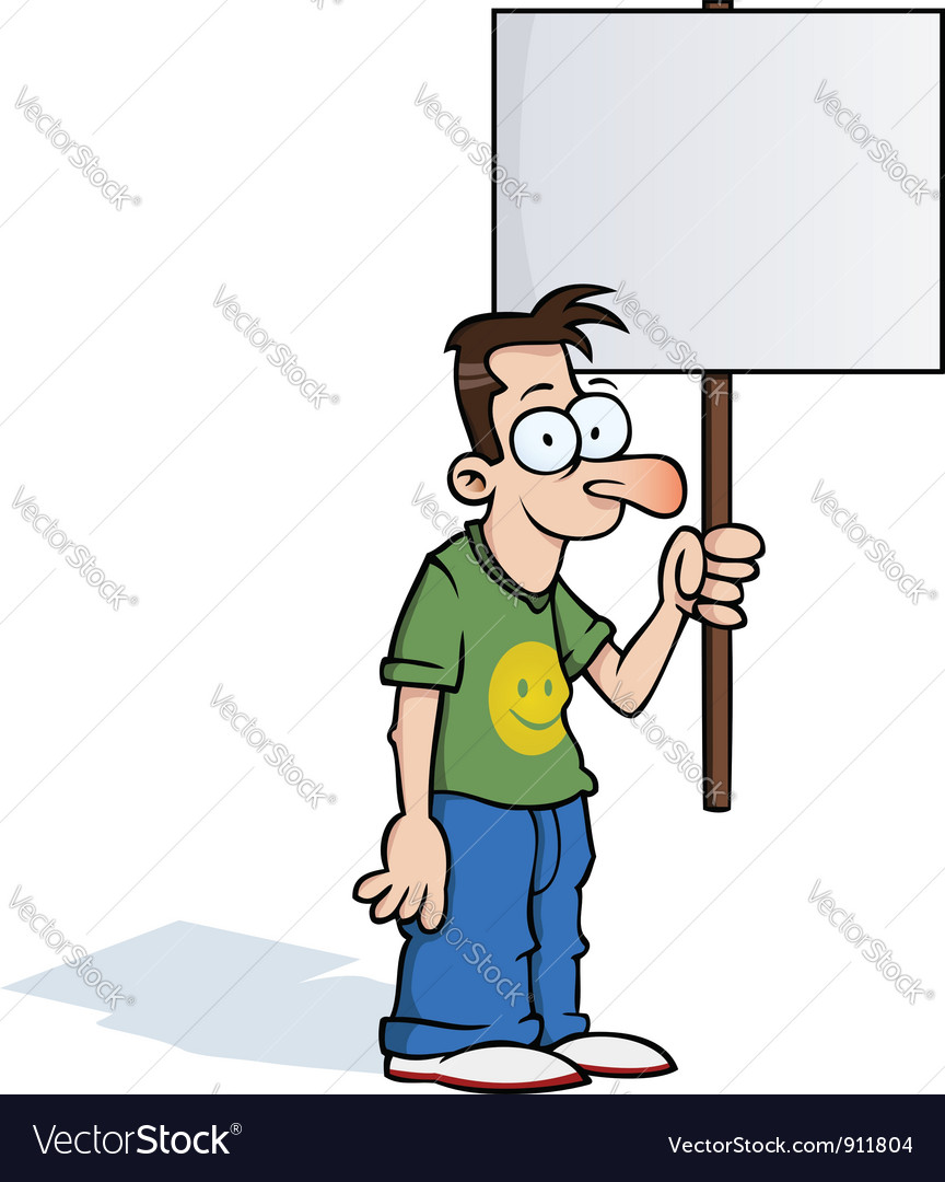 Happy man with protest sign vector | Price: 1 Credit (USD $1)