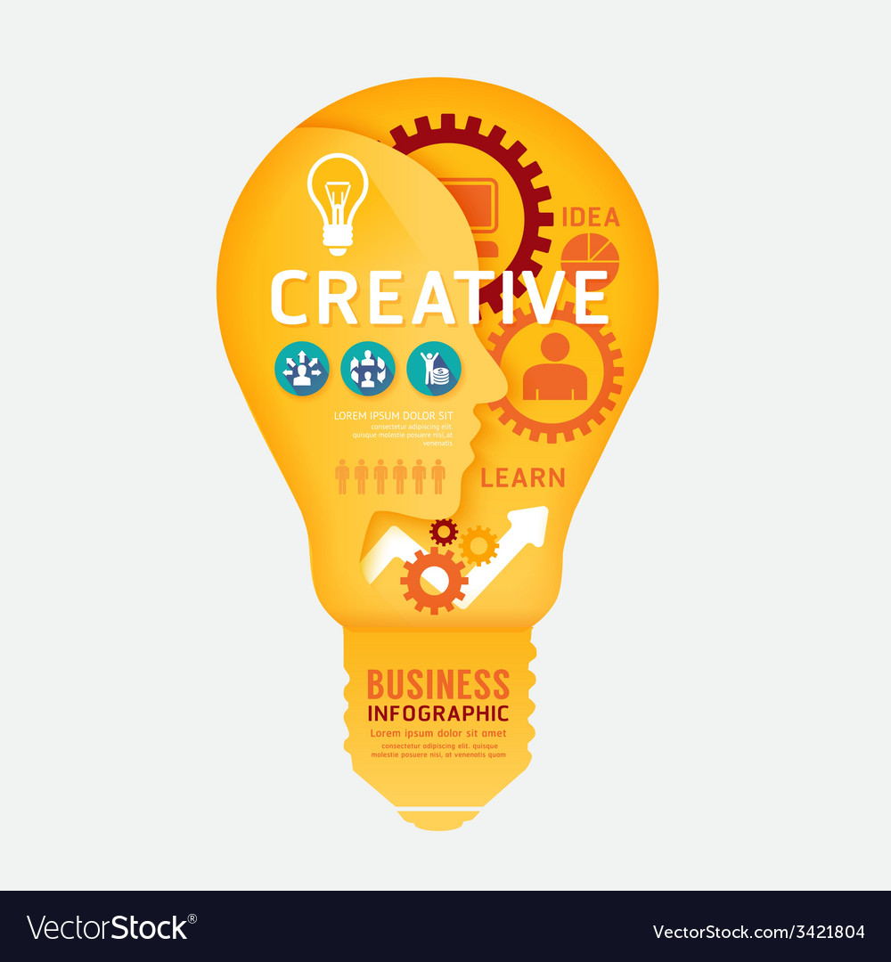 Infographics light bulb design diagram line style vector | Price: 1 Credit (USD $1)