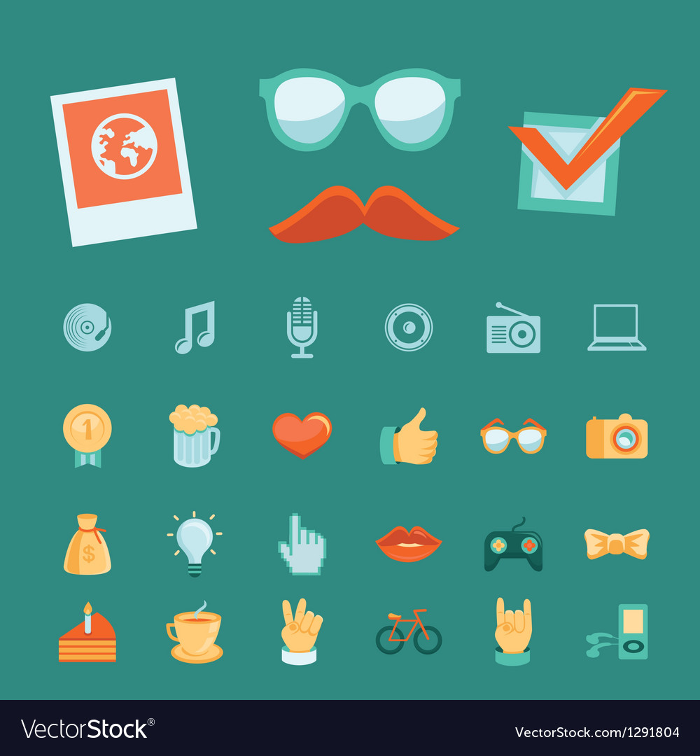 Set with trendy hipster icons and signs in retro s vector | Price: 1 Credit (USD $1)