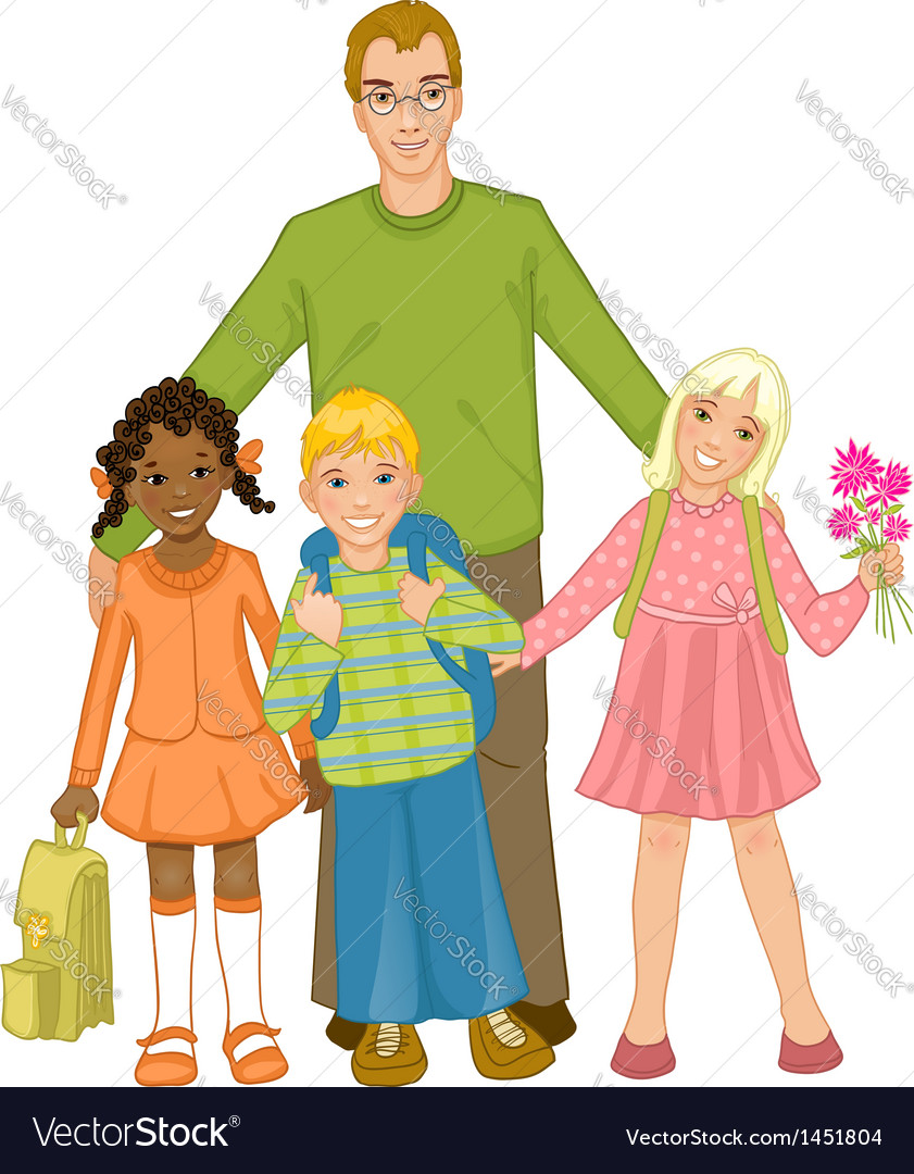Teacher with group of children vector | Price: 1 Credit (USD $1)