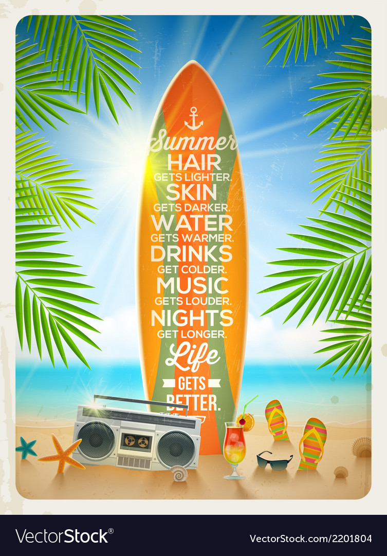 Vintage surfboard with summer saying and vector | Price: 1 Credit (USD $1)