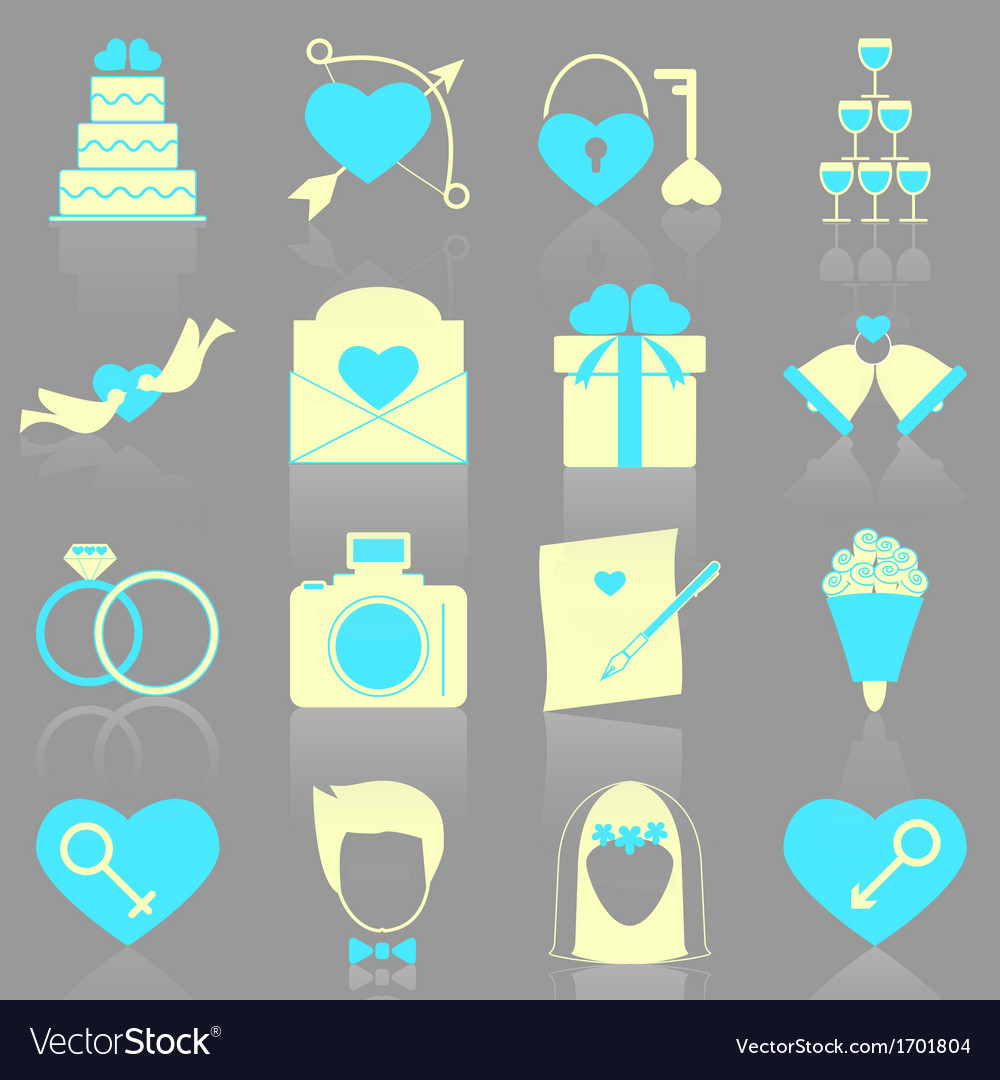 Wedding icons with reflect on gray background vector   Price: 1 Credit (USD $1)