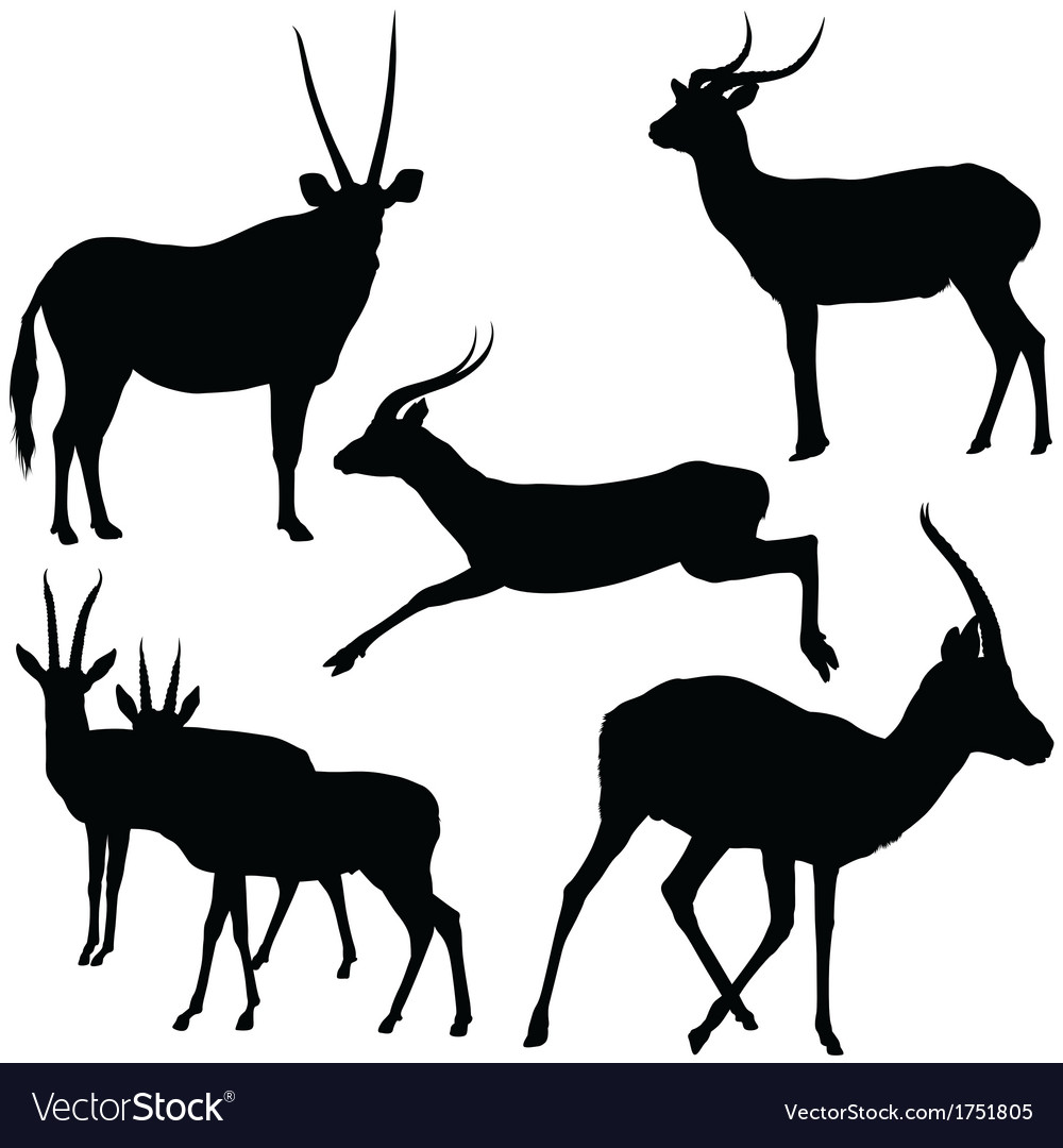Antelopes silhouettes vector | Price: 1 Credit (USD $1)