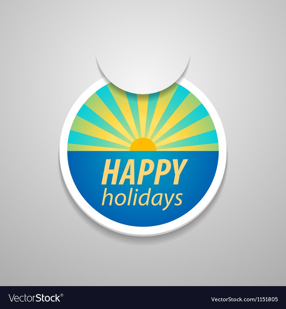 Attach happy holidays sticker vector   Price: 1 Credit (USD $1)