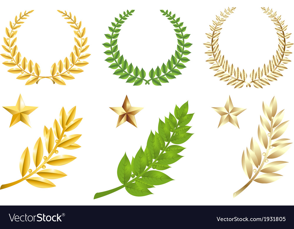 Golden and green elements set vector | Price: 1 Credit (USD $1)