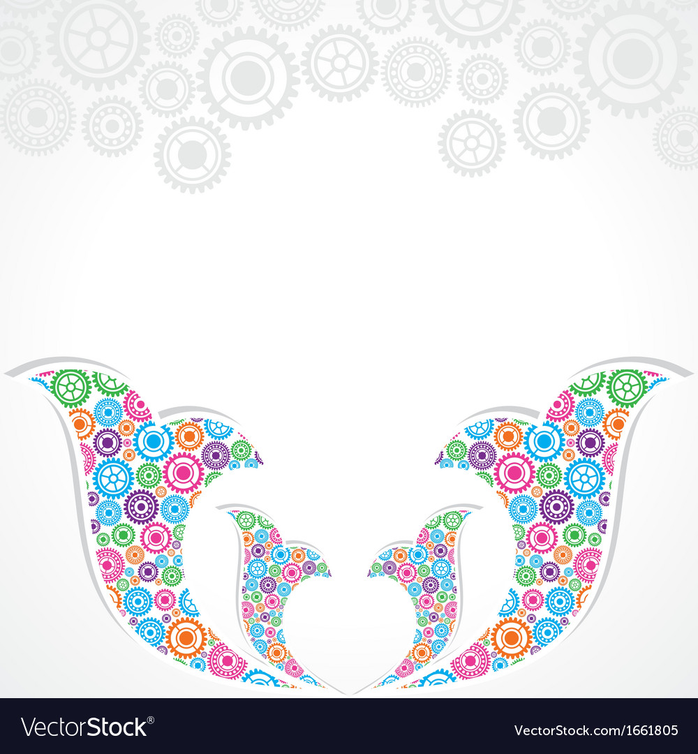 Group of gears make a floral design vector | Price: 1 Credit (USD $1)
