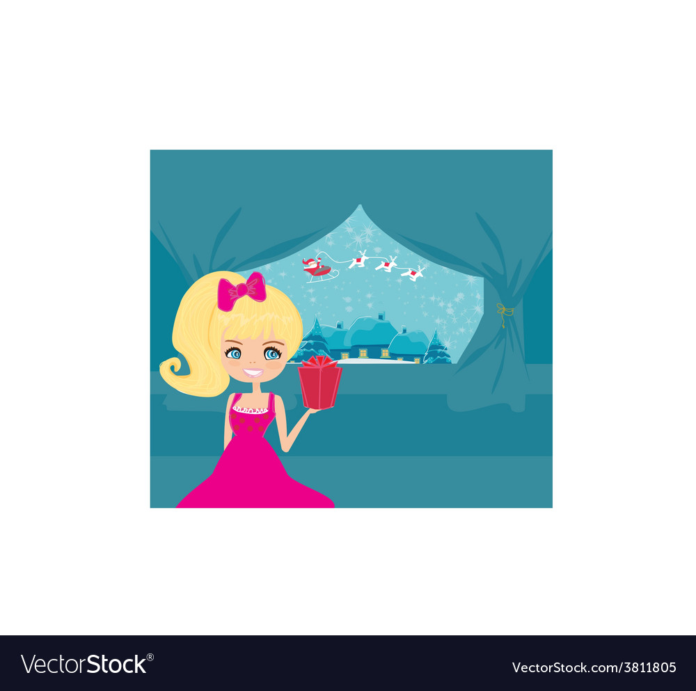 Happy new year card with santa girl and winter vector | Price: 1 Credit (USD $1)