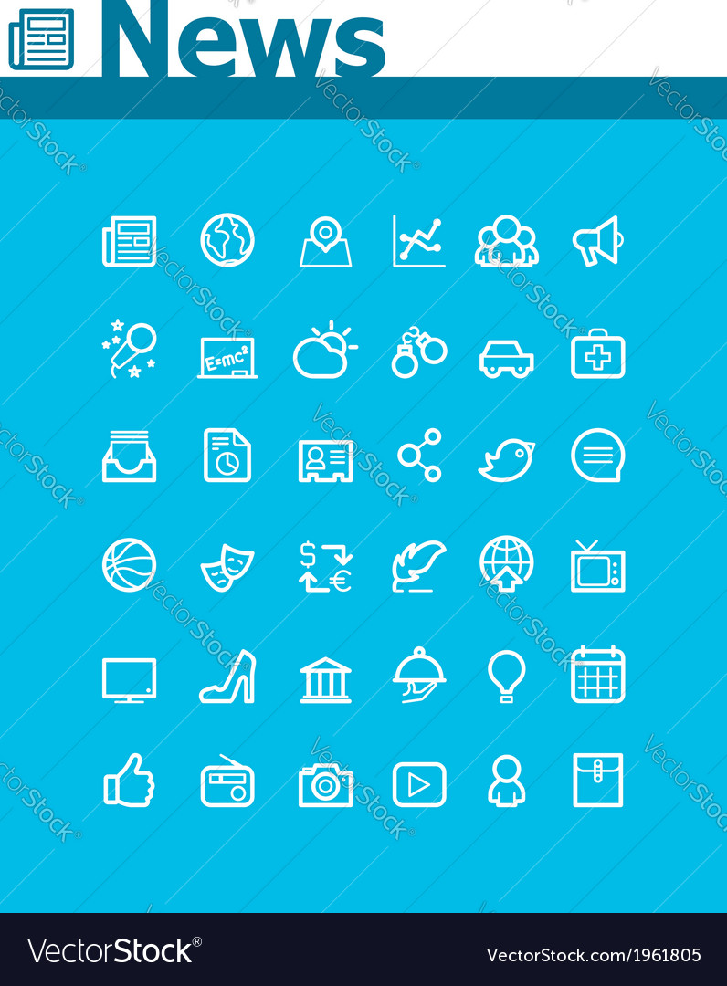 News icon set vector | Price: 1 Credit (USD $1)