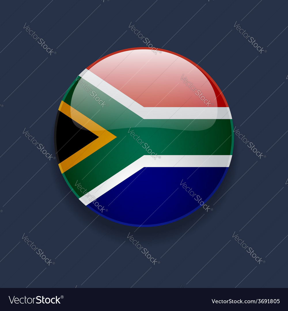 Round icon with flag of south africa vector | Price: 1 Credit (USD $1)