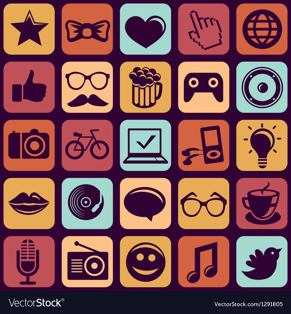 Seamless pattern with trendy hipster icons vector | Price: 3 Credit (USD $3)