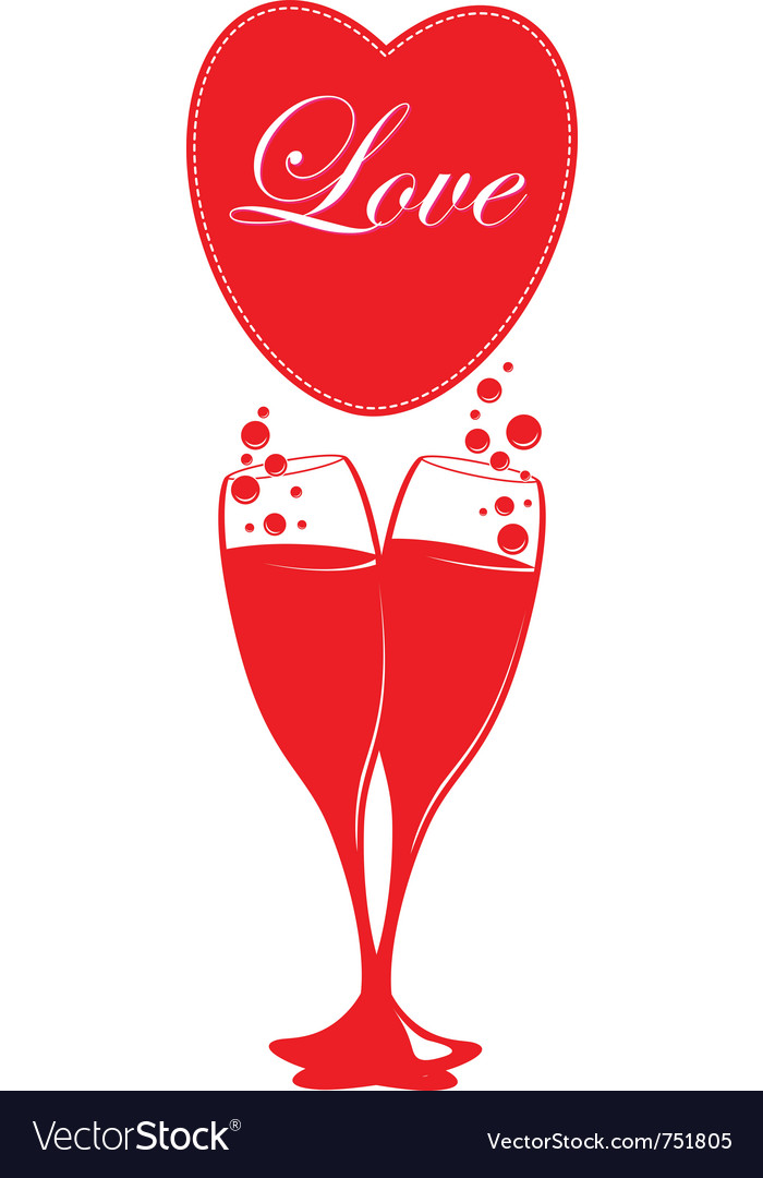 Two glasses of champagne vector   Price: 1 Credit (USD $1)