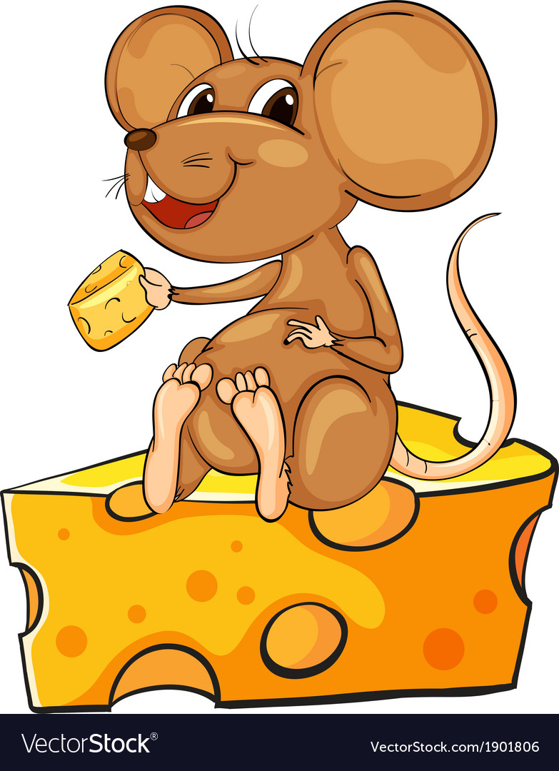 A mouse sitting above a cheese vector | Price: 3 Credit (USD $3)