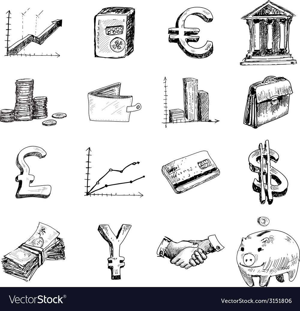 Finance icons set sketch vector | Price: 1 Credit (USD $1)