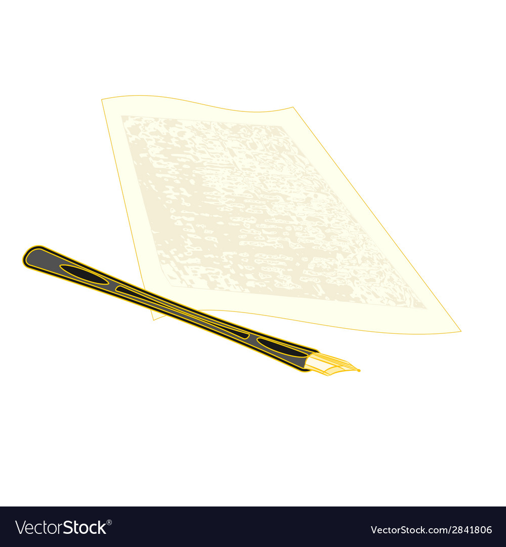Golden pen and the manuscript vector | Price: 1 Credit (USD $1)