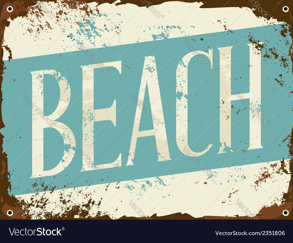 Old rusty blue and white beach metal sign vector | Price: 1 Credit (USD $1)