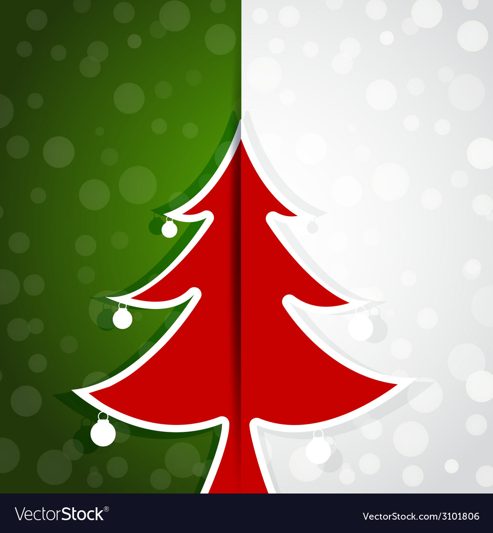 Red tree paper christmas card vector | Price: 1 Credit (USD $1)