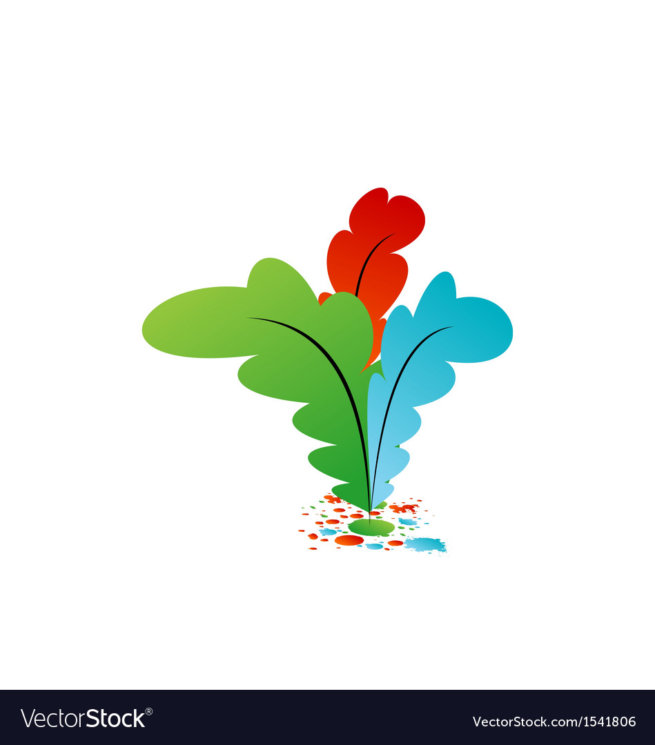 Set colourful artistic feathers with ink vector | Price: 1 Credit (USD $1)