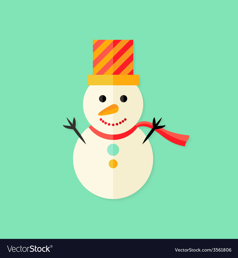 Snowman with topper christmas flat icon vector | Price: 1 Credit (USD $1)