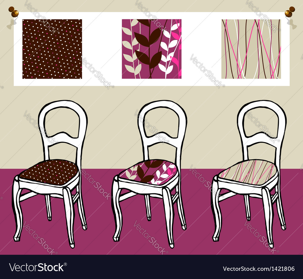 Three upholstered chairs vector | Price: 1 Credit (USD $1)