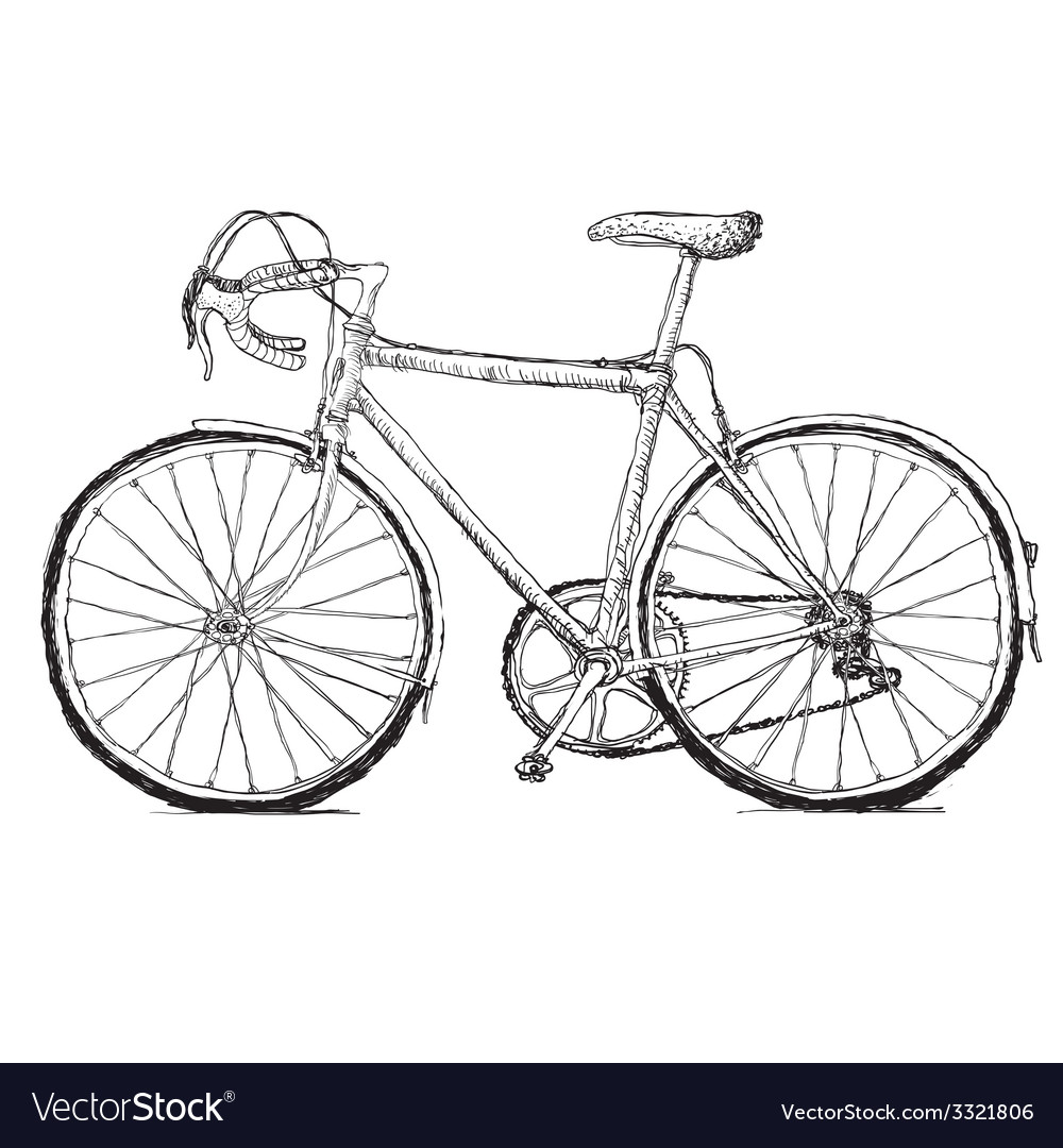 Vintage bicycle hand drawn vector