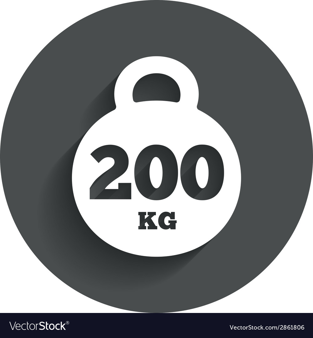 Weight sign icon 200 kilogram sport symbol vector | Price: 1 Credit (USD $1)